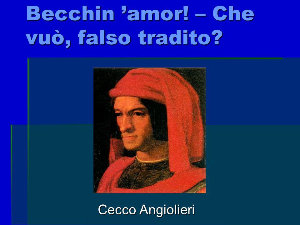 Biografia dell'autore Cecco Angiolieri, nato nel 1257 e morto verso il 1312.Cecco visse una vita sregolata: ebbe vari problemi con la giustizia, sperperò l'eredità del padre e morì in miseria.