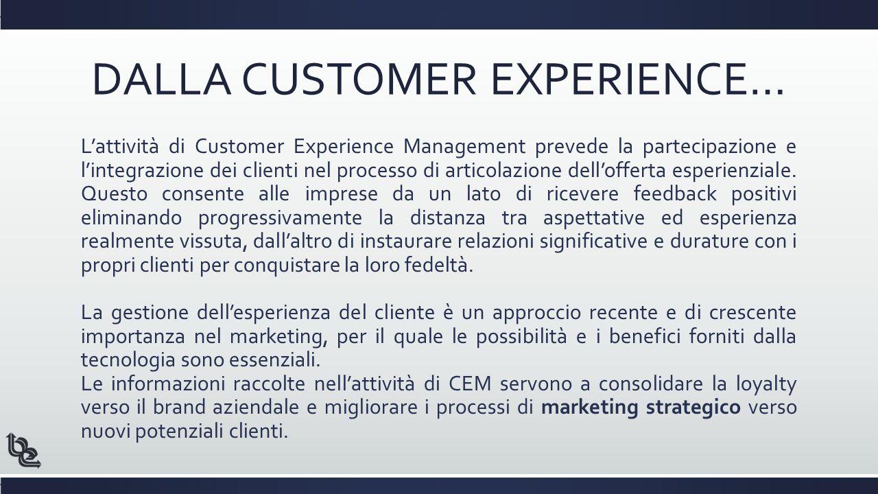 DALLA CUSTOMER EXPERIENCE… L'attività di Customer Experience Management prevede la partecipazione e l'integrazione dei clienti nel processo di articolazione dell'offerta esperienziale.