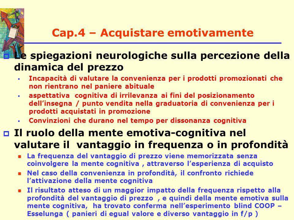 Cap.4 – Acquistare emotivamente  il condizionamento della mente consapevole sulla mente emotiva nel determinare la convenienza percepita : Ipotesi di un prior belief che interagisce sia con la frequenza che con la profondità del vantaggio di prezzo nel determinare la percezione di convenienza In caso di dissonanza, dovrebbe prevalere la mente cognitiva nella creazione dell'immagine di convenienza L'ipotesi di prevalenza delle aspettative in caso di dissonanza cognitiva-emotiva è supportata dal risultato di un precedente esperimento Coca – Pepsi Il confronto di panieri reali, in chiaro e blind, con vantaggi alternati in frequenza e in profondità che soddisfano il vincolo di costanza del costo complessivo I risultati ( T4.5-6-7-8-9-10-11 ) :( T4.5-6-7-8-9-10-11 ) :  Confermano l'ipotesi della maggior importanza del vantaggio in frequenza ( mente emotiva ) rispetto alla profondità  non confermano l'ipotesi secondo cui le aspettative ( il prior belief) condizionano la valutazione di convenienza nella esperienza di acquisto (diversamente dalla scelta della marca )