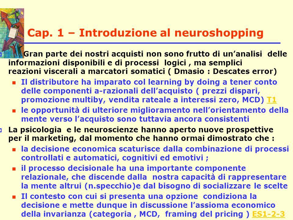 Cap. 1 – Introduzione al neuroshopping  Gran parte dei nostri acquisti non sono frutto di un'analisi delle informazioni disponibili e di processi log