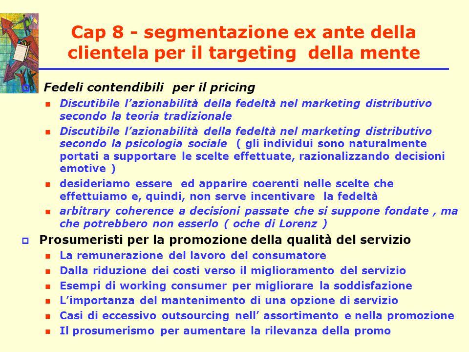 Cap 8 - segmentazione ex ante della clientela per il targeting della mente  A cosa serve la segmentazione della clientela.