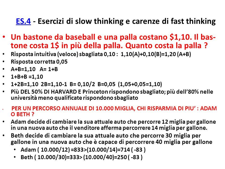 ES.4ES.4 - Esercizi di slow thinking e carenze di fast thinking Un bastone da baseball e una palla costano $1,10. Il bas- tone costa 1$ in più della p