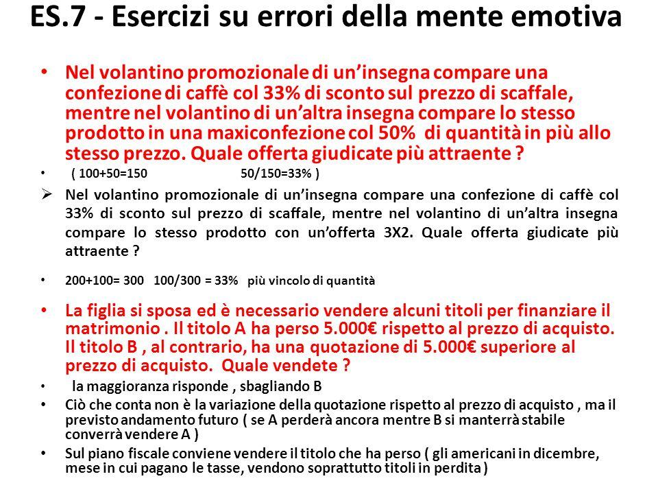 ES.8ES.8 - Esercizi su errori della mente emotiva Quale dei due investitori, Paolo o Francesca, prova più rammarico per la scelta effettuata .