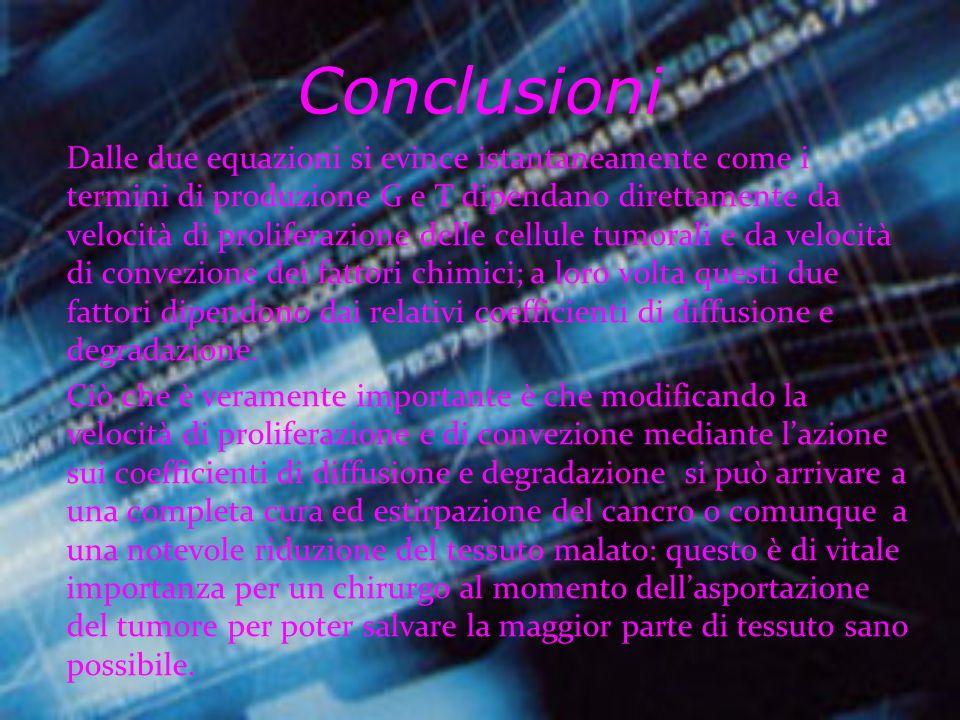 Quindi si arriva alle due equazioni: Dove v è la velocità di proliferazione delle cellule tumorali e w è la velocità di convezione dei fattori chimici