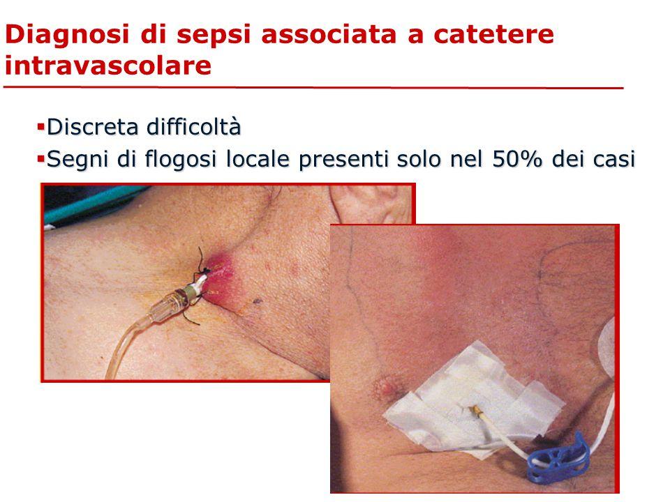  Discreta difficoltà  Segni di flogosi locale presenti solo nel 50% dei casi Diagnosi di sepsi associata a catetere intravascolare