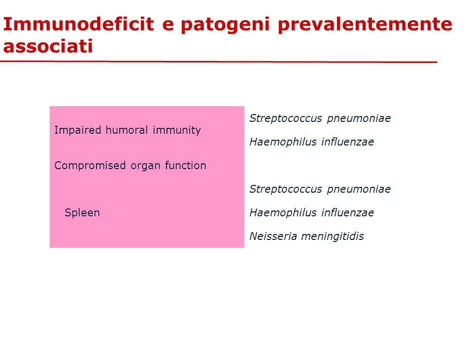 Immunodeficit e patogeni prevalentemente associati Impaired humoral immunity Streptococcus pneumoniae Haemophilus influenzae Compromised organ functio