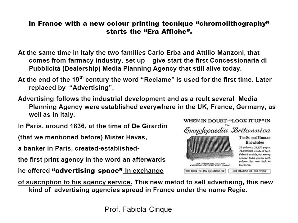 """Prof. Fabiola Cinque In France with a new colour printing tecnique """"chromolithography"""" starts the """"Era Affiche"""". At the same time in Italy the two fam"""