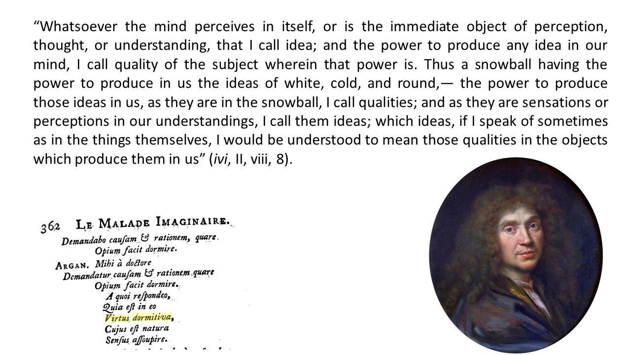 Locke non ha dubbi su quali siano le proprietà intrinseche degli oggetti che si rispecchiano nella nostra esperienza: sono le proprietà che avvertiamo nelle idee semplici della solidità, dell'estensione, del movimento o della quiete, della figura e del numero.