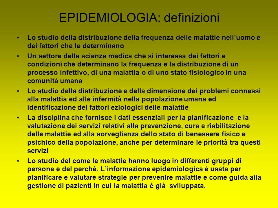 EPIDEMIOLOGIA: definizioni Lo studio della distribuzione della frequenza delle malattie nell'uomo e dei fattori che le determinano Un settore della sc
