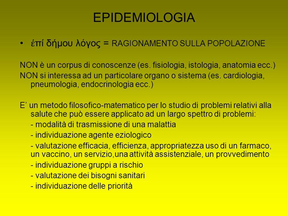 EPIDEMIOLOGIA ἐ πί δήμου λ ό γος = RAGIONAMENTO SULLA POPOLAZIONE NON è un corpus di conoscenze (es.