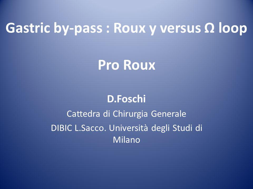 Gastric by-pass : Roux y versus Ω loop Pro Roux D.Foschi Cattedra di Chirurgia Generale DIBIC L.Sacco. Università degli Studi di Milano