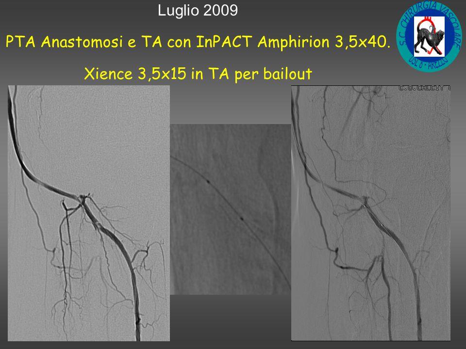 Luglio 2009 PTA Anastomosi e TA con InPACT Amphirion 3,5x40. Xience 3,5x15 in TA per bailout