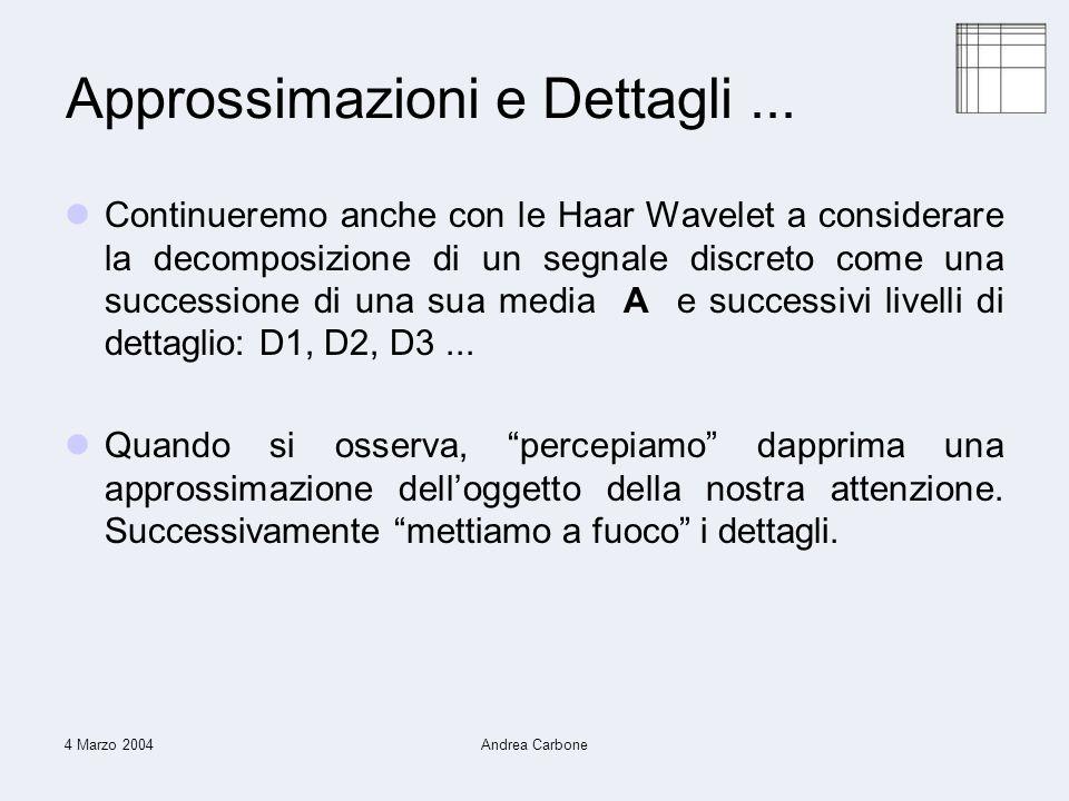 4 Marzo 2004Andrea Carbone Approssimazioni e Dettagli...