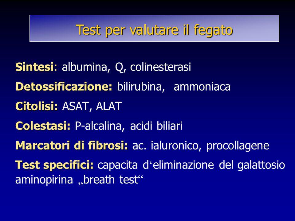 Sintesi Detossificazione: Citolisi: Colestasi: Marcatori di fibrosi: Test specifici: Sintesi: albumina, Q, colinesterasi Detossificazione: bilirubina,
