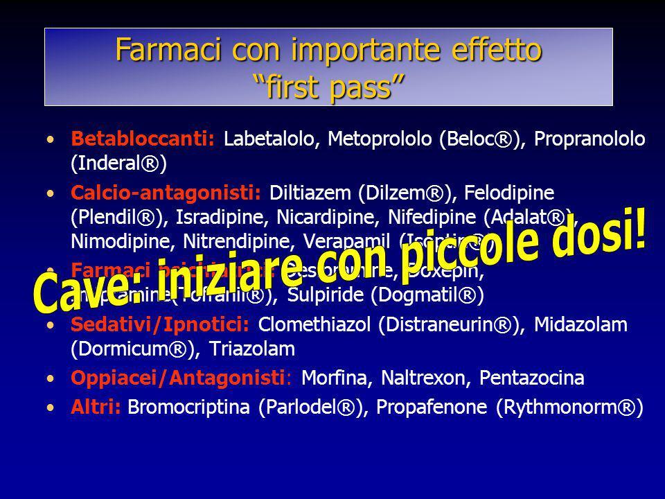 Betabloccanti: Labetalolo, Metoprololo (Beloc®), Propranololo (Inderal®) Calcio-antagonisti: Diltiazem (Dilzem®), Felodipine (Plendil®), Isradipine, N