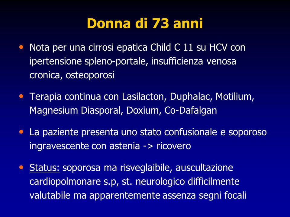 Donna di 73 anni Nota per una cirrosi epatica Child C 11 su HCV con ipertensione spleno-portale, insufficienza venosa cronica, osteoporosi Terapia con