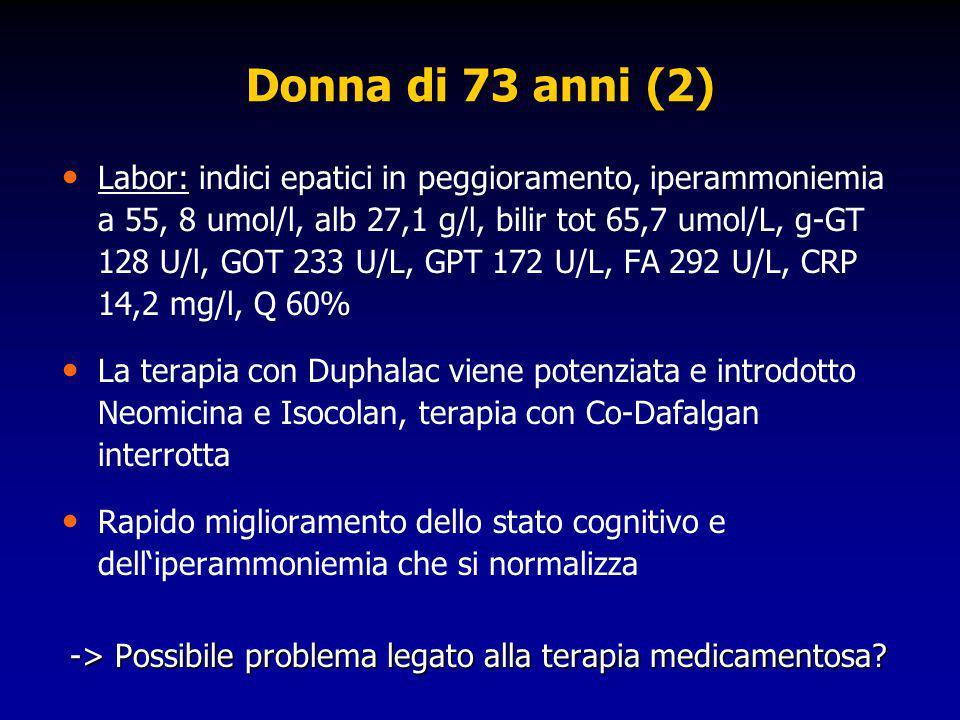 Donna di 73 anni (2) Labor: indici epatici in peggioramento, iperammoniemia a 55, 8 umol/l, alb 27,1 g/l, bilir tot 65,7 umol/L, g-GT 128 U/l, GOT 233