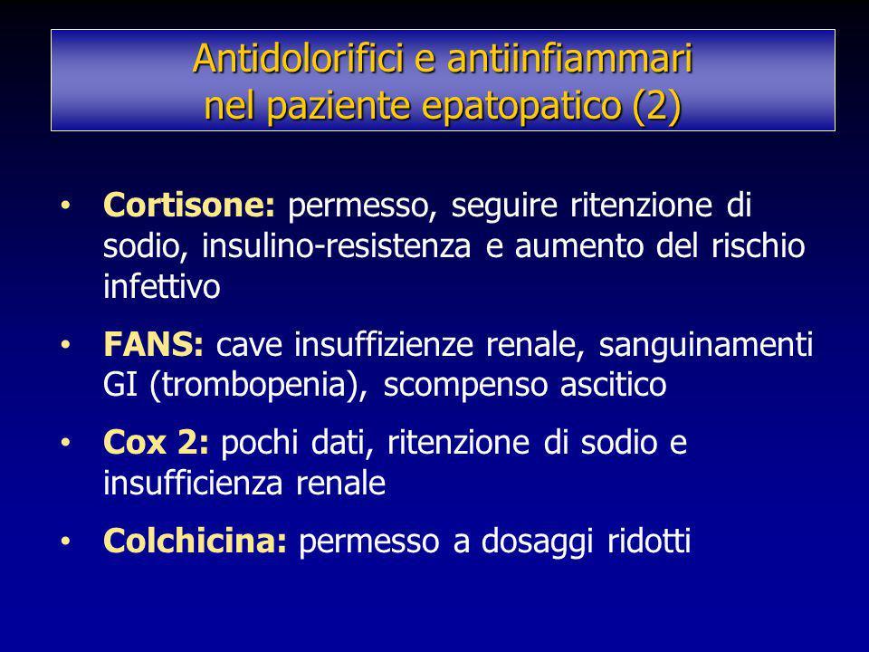 Cortisone: permesso, seguire ritenzione di sodio, insulino-resistenza e aumento del rischio infettivo FANS: cave insuffizienze renale, sanguinamenti G