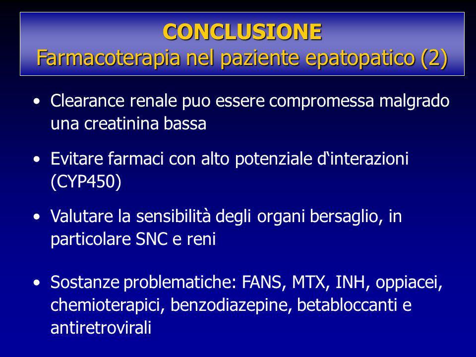Clearance renale puo essere compromessa malgrado una creatinina bassa Evitare farmaci con alto potenziale d'interazioni (CYP450) Valutare la sensibili