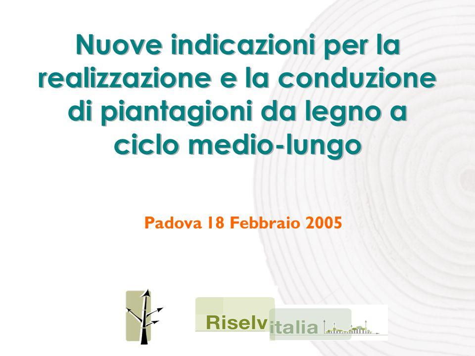 Nuove indicazioni per la realizzazione e la conduzione di piantagioni da legno a ciclo medio-lungo Padova 18 Febbraio 2005