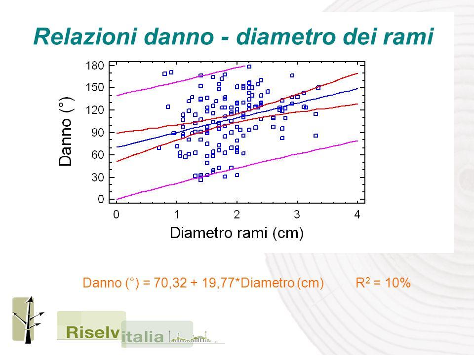 Relazioni danno - diametro dei rami Danno (°) = 70,32 + 19,77*Diametro (cm) R 2 = 10%