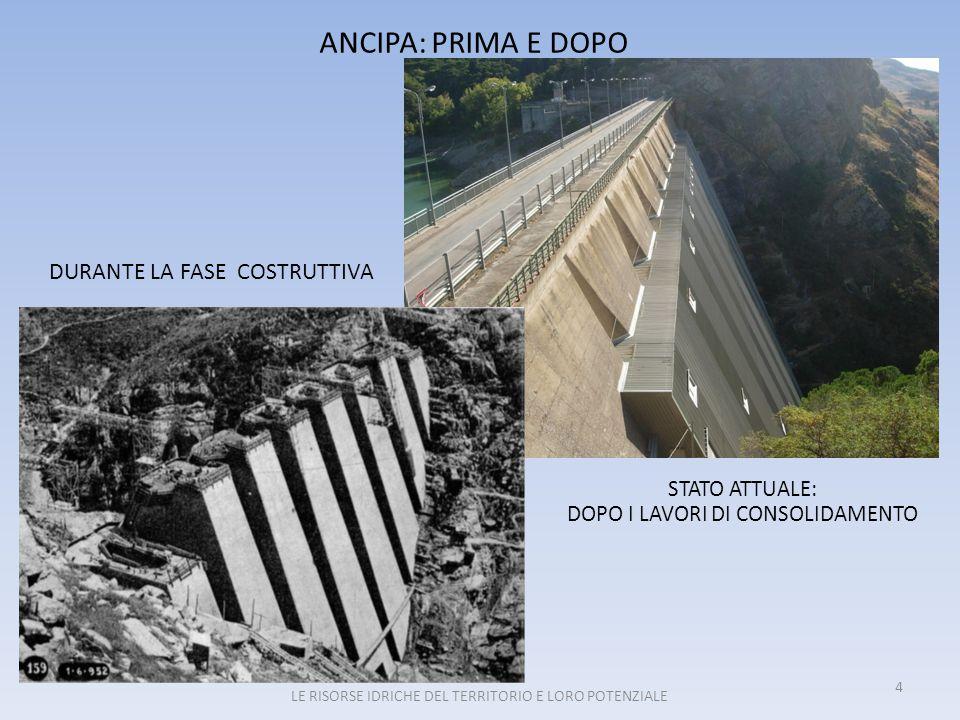 ALCUNI DATI SULLA DIGA ANCIPA CORSO D'ACQUA PRINCIPALETROINA QUOTA INVASO949,00 m.s.l.m.