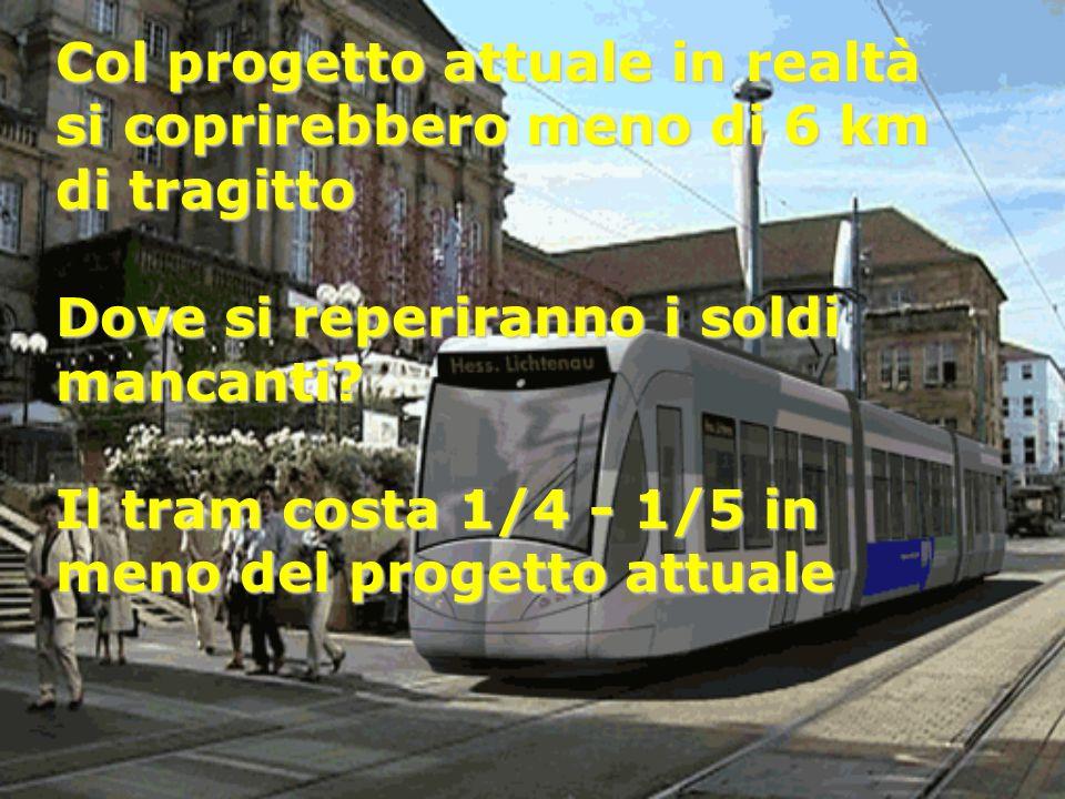 Col progetto attuale in realtà si coprirebbero meno di 6 km di tragitto Dove si reperiranno i soldi mancanti? Il tram costa 1/4 - 1/5 in meno del prog