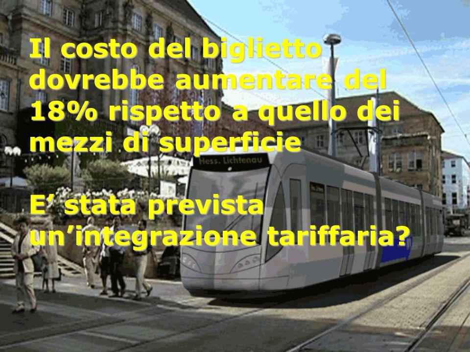 Il costo del biglietto dovrebbe aumentare del 18% rispetto a quello dei mezzi di superficie E' stata prevista un'integrazione tariffaria?