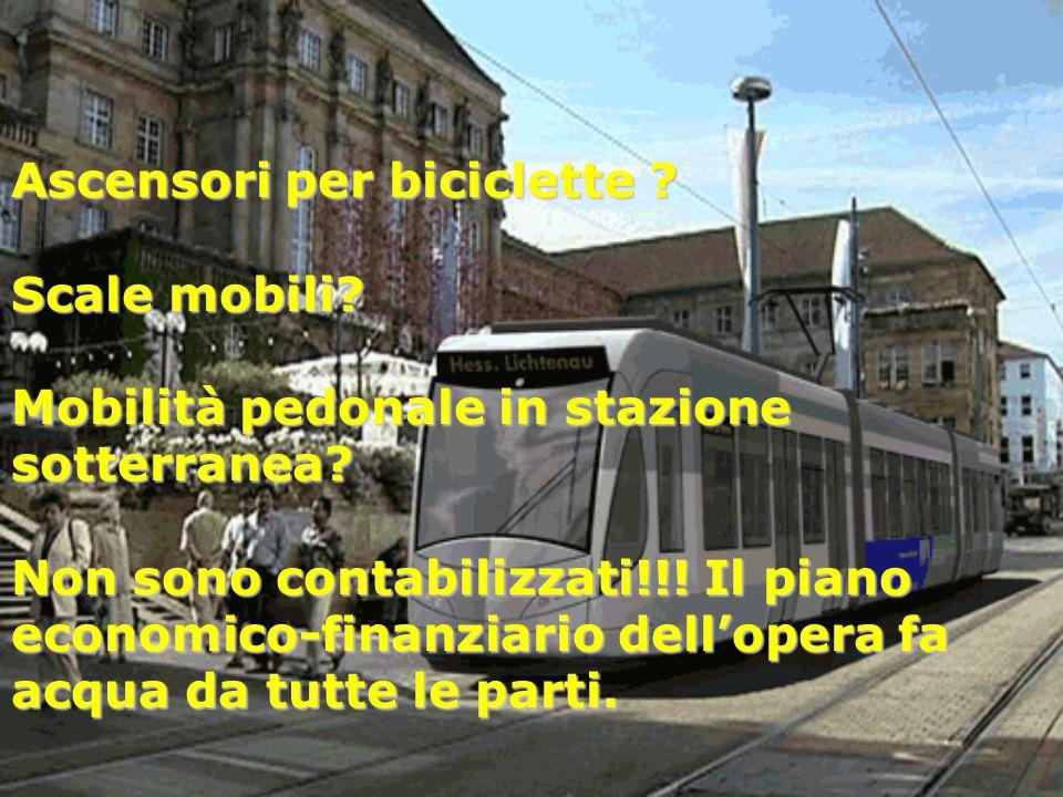 Ascensori per biciclette ? Scale mobili? Mobilità pedonale in stazione sotterranea? Non sono contabilizzati!!! Il piano economico-finanziario dell'ope