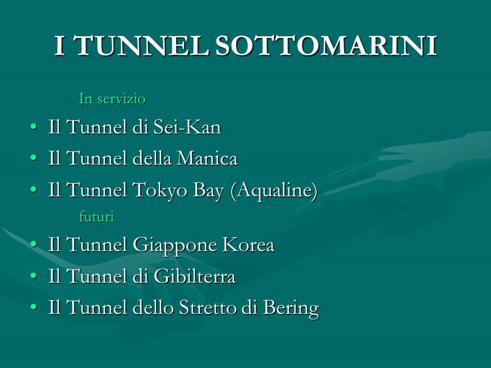 I TUNNEL SOTTOMARINI In servizio Il Tunnel di Sei-KanIl Tunnel di Sei-Kan Il Tunnel della ManicaIl Tunnel della Manica Il Tunnel Tokyo Bay (Aqualine)Il Tunnel Tokyo Bay (Aqualine)futuri Il Tunnel Giappone KoreaIl Tunnel Giappone Korea Il Tunnel di GibilterraIl Tunnel di Gibilterra Il Tunnel dello Stretto di BeringIl Tunnel dello Stretto di Bering