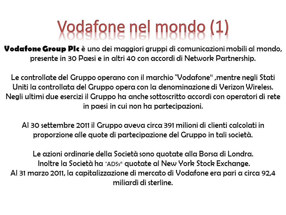 Vodafone articola la sua strategia sulla base di un unico fine e sei obiettivi strategici: La forza di un team mondiale capace di condividere obiettivi strategici e principi di responsabilità sociale per soddisfare i bisogni dei Clienti e creare valore per gli azionisti ampliando i confini del mercato .