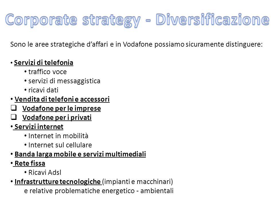 Sono le aree strategiche d'affari e in Vodafone possiamo sicuramente distinguere: Servizi di telefonia traffico voce servizi di messaggistica ricavi d