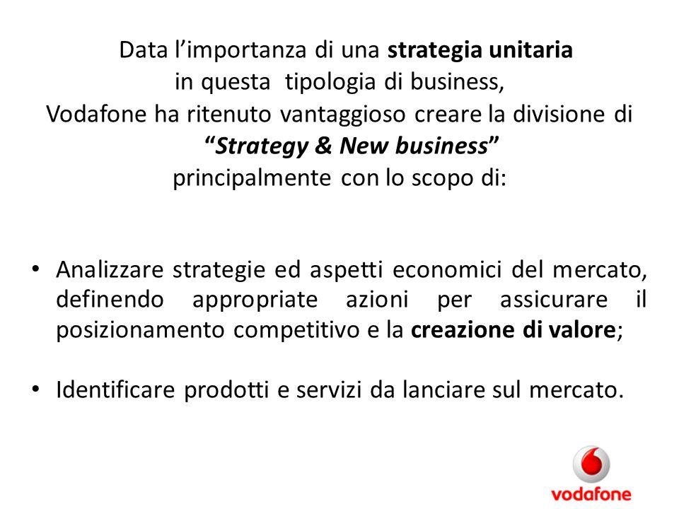 """Data l'importanza di una strategia unitaria in questa tipologia di business, Vodafone ha ritenuto vantaggioso creare la divisione di """"Strategy & New b"""