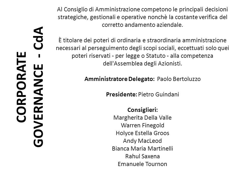 CORPORATE GOVERNANCE - CdA Al Consiglio di Amministrazione competono le principali decisioni strategiche, gestionali e operative nonchè la costante ve