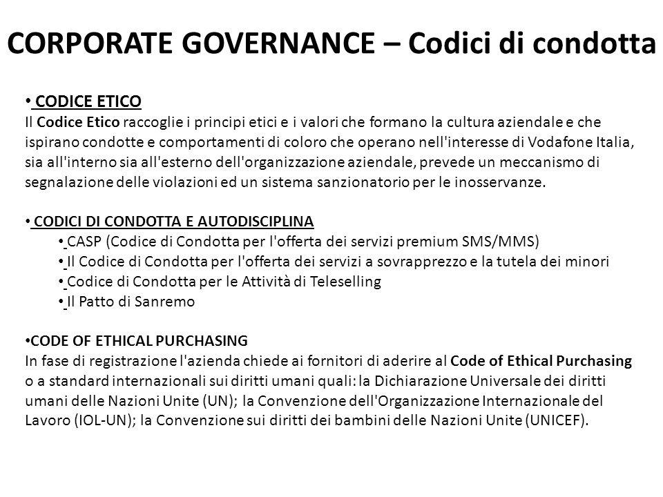 CORPORATE GOVERNANCE – Codici di condotta CODICE ETICO Il Codice Etico raccoglie i principi etici e i valori che formano la cultura aziendale e che is