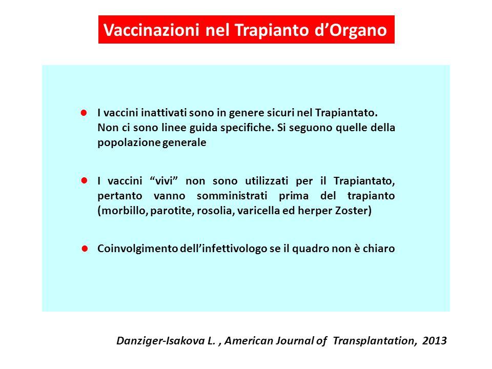I vaccini inattivati sono in genere sicuri nel Trapiantato. Non ci sono linee guida specifiche. Si seguono quelle della popolazione generale I vaccini