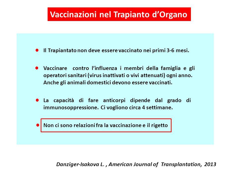 Il Trapiantato non deve essere vaccinato nei primi 3-6 mesi. La capacità di fare anticorpi dipende dal grado di immunosoppressione. Ci vogliono circa