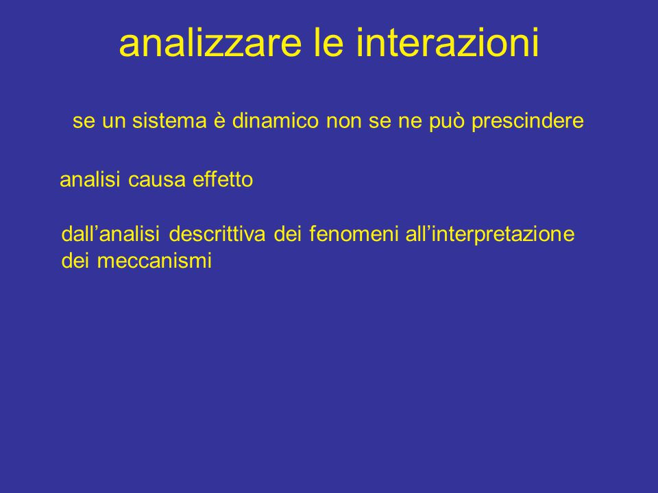 analizzare le interazioni se un sistema è dinamico non se ne può prescindere analisi causa effetto dall'analisi descrittiva dei fenomeni all'interpretazione dei meccanismi