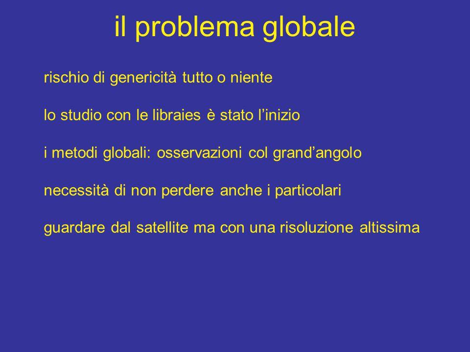 il problema globale rischio di genericità tutto o niente lo studio con le libraies è stato l'inizio i metodi globali: osservazioni col grand'angolo ne
