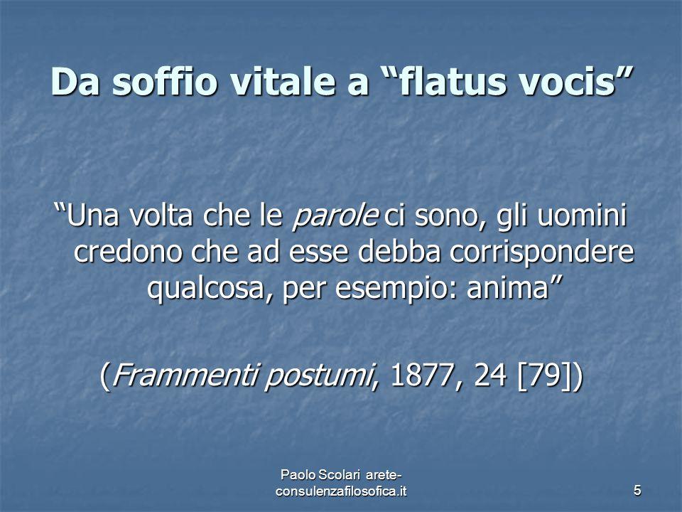 """Da soffio vitale a """"flatus vocis"""" """"Una volta che le parole ci sono, gli uomini credono che ad esse debba corrispondere qualcosa, per esempio: anima"""" ("""
