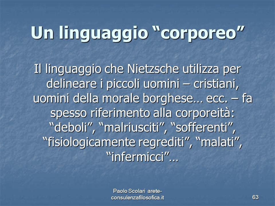 """Un linguaggio """"corporeo"""" Il linguaggio che Nietzsche utilizza per delineare i piccoli uomini – cristiani, uomini della morale borghese… ecc. – fa spes"""