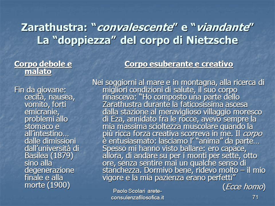 """Zarathustra: """"convalescente"""" e """"viandante"""" La """"doppiezza"""" del corpo di Nietzsche Corpo debole e malato Fin da giovane: cecità, nausea, vomito, forti e"""