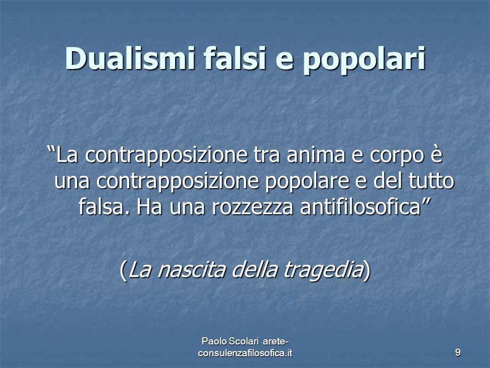 """Dualismi falsi e popolari """"La contrapposizione tra anima e corpo è una contrapposizione popolare e del tutto falsa. Ha una rozzezza antifilosofica"""" (L"""