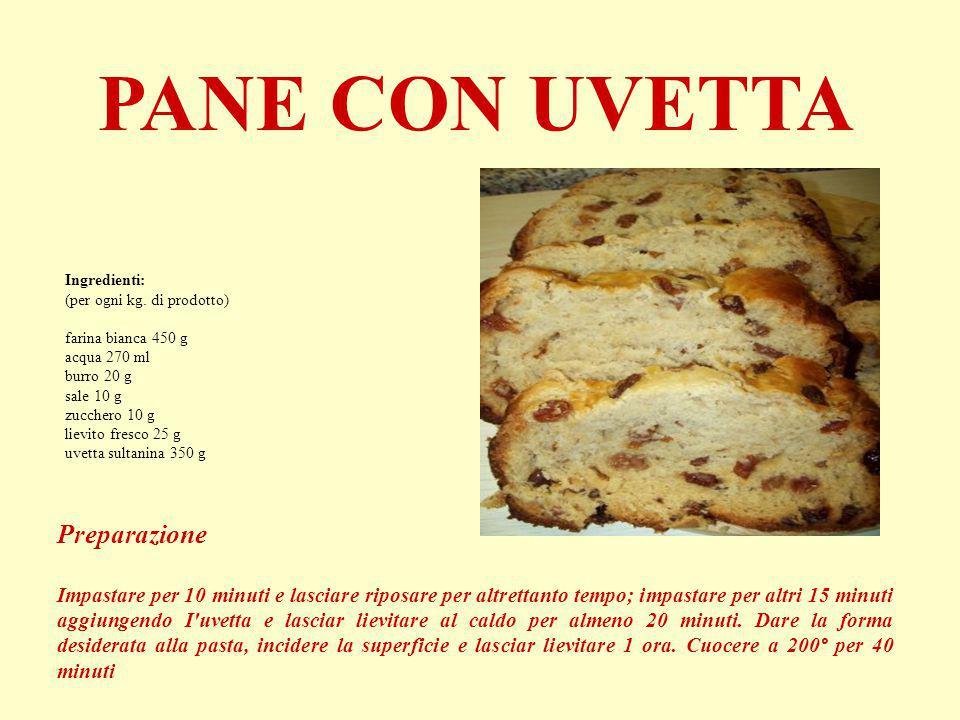 PANE CON UVETTA Ingredienti: (per ogni kg. di prodotto) farina bianca 450 g acqua 270 ml burro 20 g sale 10 g zucchero 10 g lievito fresco 25 g uvetta