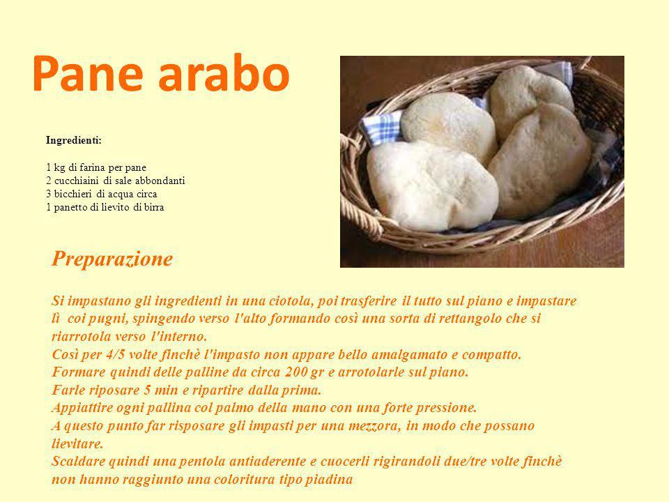 Pane arabo Ingredienti: 1 kg di farina per pane 2 cucchiaini di sale abbondanti 3 bicchieri di acqua circa 1 panetto di lievito di birra Preparazione