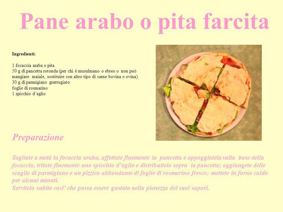 Pane arabo o pita farcita Ingredienti: 1 focaccia araba o pita 50 g di pancetta rotonda (per chi è musulmano o ebreo o non può mangiare maiale, sostit