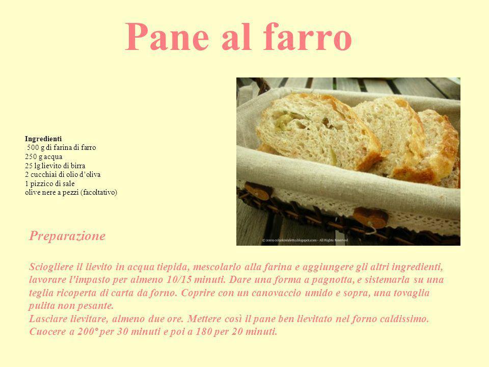 Ingredienti 500 g di farina di farro 250 g acqua 25 lg lievito di birra 2 cucchiai di olio d'oliva 1 pizzico di sale olive nere a pezzi (facoltativo)