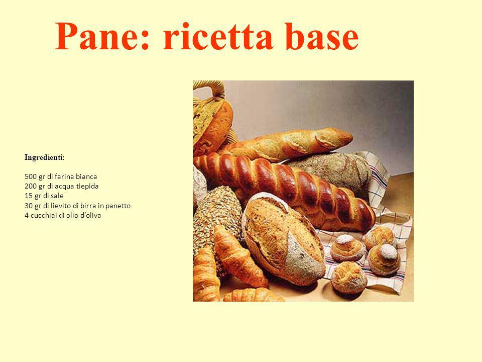 Ingredienti: 500 gr di farina bianca 200 gr di acqua tiepida 15 gr di sale 30 gr di lievito di birra in panetto 4 cucchiai di olio d'oliva Pane: ricet