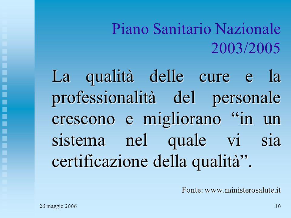26 maggio 200610 Piano Sanitario Nazionale 2003/2005 La qualità delle cure e la professionalità del personale crescono e migliorano in un sistema nel quale vi sia certificazione della qualità .