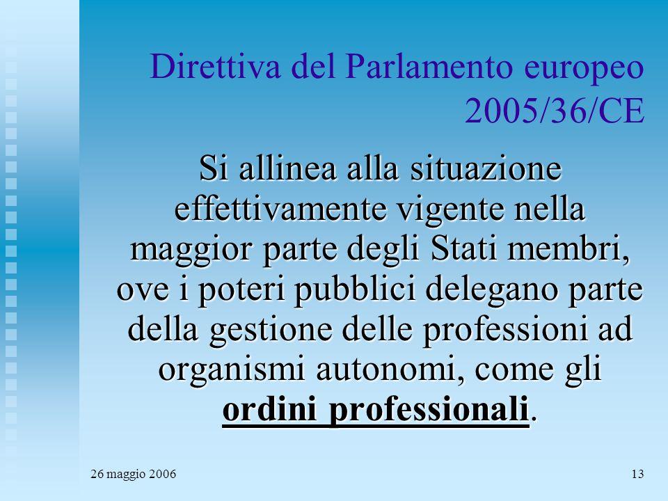 26 maggio 200613 Direttiva del Parlamento europeo 2005/36/CE Si allinea alla situazione effettivamente vigente nella maggior parte degli Stati membri, ove i poteri pubblici delegano parte della gestione delle professioni ad organismi autonomi, come gli ordini professionali.